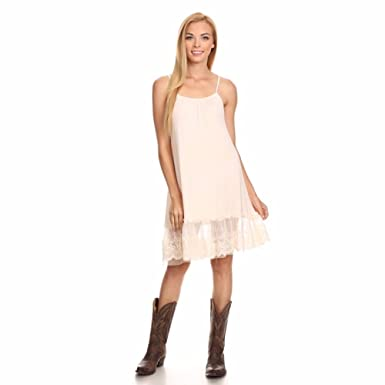 68e35720badc4 Neutral Beige Lace Trim Long Full Length Camisole Slip Top Dress Extender  (Large)