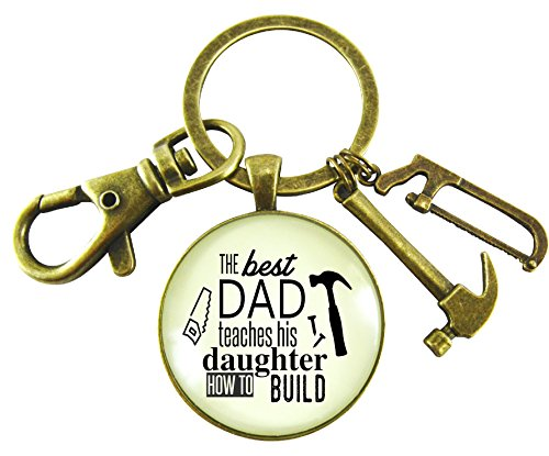 The Best Dad Teaches His Daughter How to Build Keychain Gifts to Dad From Daughter For Father's Day 1.20' Round Glass Vintage Style Bronze Key Ring, Tool Charms