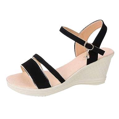 f19e9f061f0f Hypothesis X ☎ Women s Wedges Shoes Peep Toe Sandals Summer Bohemian Sandals  Ankle Strap Shoes Black