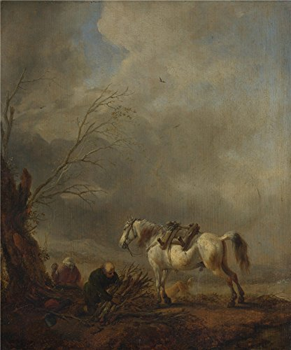[High Quality Polyster Canvas ,the Reproductions Art Decorative Canvas Prints Of Oil Painting 'Philips Wouwermans A White Horse And An Old Man Binding Faggots ', 24 X 29 Inch / 61 X 73 Cm Is Best For Home Office Gallery Art And Home Decoration And] (French Fries Costume Toddler)