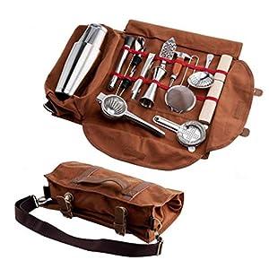 Barman borsa arrotolabile,borsa per attrezzi da lavoro,Borsa da Bar Portatile Multi-Funzione,Tessuto in Tela Cerata per… 9 spesavip