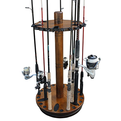 (Rush Creek Creations Round Spinning 30 Fishing Rod Rack - No Tool Assembly - 360 Degree Rotation)