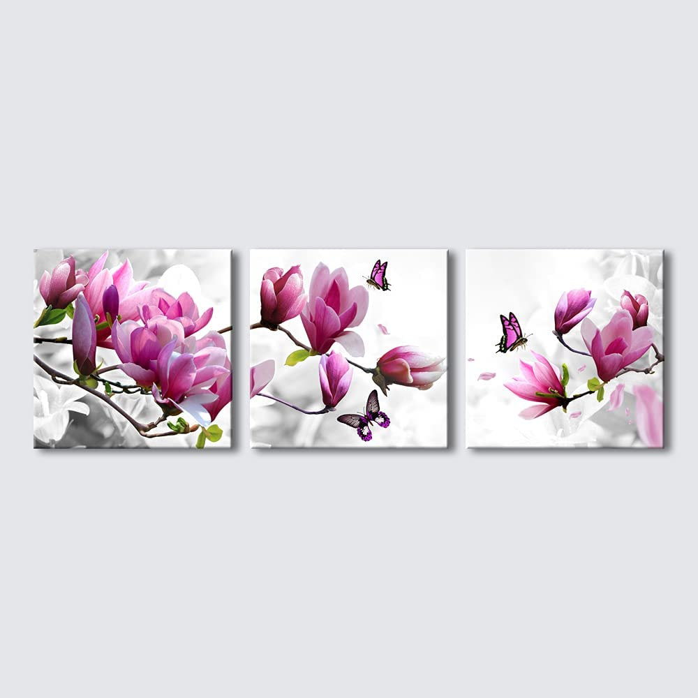Wieco Art Butterfly in Magnolia Canvas Prints Wall Art 3 Piece Purple Flowers Pictures Paintings for Living Room Bedroom Home Decorations Modern Stretched and Framed Grace Purple Floral Giclee Artwork