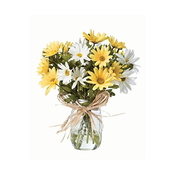 Petals – Farmhouse Daisies Silk Arrangement – Handcrafted – Amazingly Lifelike – 12 x 11 Inches (Yellow-White)