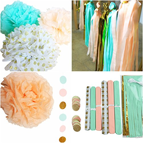 DIY Decorations Kit For Baby Shower & Bridal Events Wedding Showers - Mint Peach Glitter Gold Tissue Paper Pom Pom Gold Tissue Pom Pom Paper Tassel Polka Dot Paper Garland (Mesa Peach)