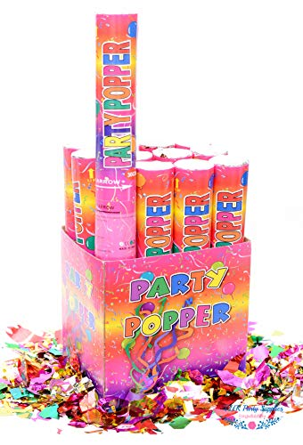 12 Piece Confetti Cannon Popper (12 in) in Decorated Gift Box - TUR Party Supplies Authentic Giant Party Confetti Cannon for Parties, Birthdays, Weddings, and More! Safe and Fun for Family and Friends