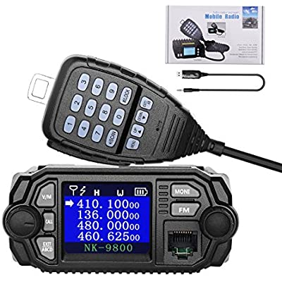 NKTECH NK-9800 Mobile Transceiver Dual Band Quad Standby 5-Tone 2-Tone VHF UHF 25W 20W 136-174 400-480MHz Car Trunk Radio Amateur Mini Color Screen Ham Walkie Talkie Upgrade  Included USB Cable-BK