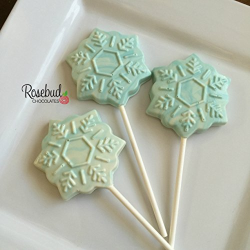 12 SNOWFLAKE White & Teal Chocolate Lollipops Candy Party FAVORS (One Dozen) ()