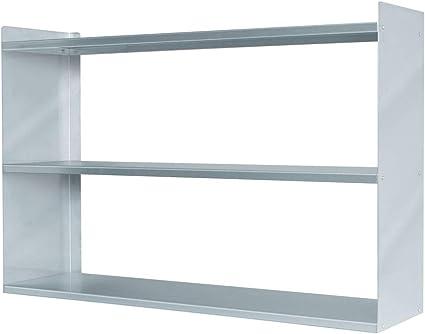 Estantería de pared de acero inoxidable, 1000 x 250 x 650 mm, 3 estantes, color plateado