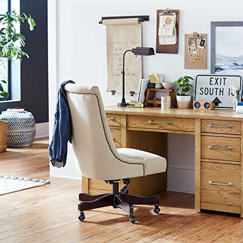 Stone & Beam Nailhead Swivel Office Chair with Wheels, 28.4