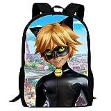 Unisex School Bags Satchel Miracu-lous Cat No-ir Lady bug Laptop Backpack Shoulder Daypack Bookbag For Student Office Travel