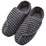 MEJORMEN Mens Diabetic Slippers Adjustable Warm Comfortable House Non-Skid Shoes for Swollen Feet, Diabetes, Swelling, Edema, Arthritis, Neuropathy