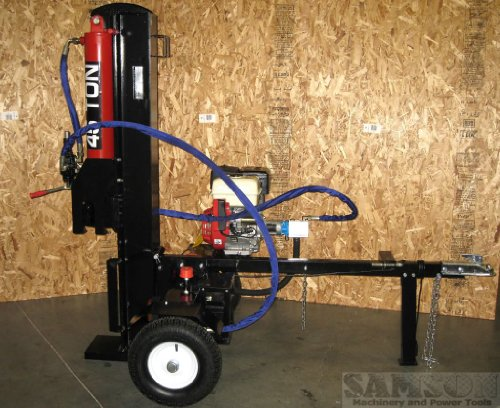 45 Ton, 15HP Hydraulic Gasoline Powered Log Wood Splitter Machine, with Electric Start and 4 Way Splitting Wedge (Dry Dock Hitch)