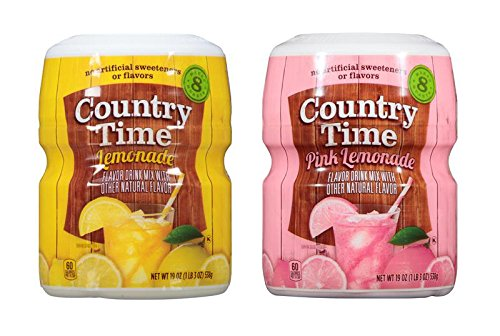 Country Time Lemonade 19 Ounce Drink Mix 2 Flavor Variety Bundle, Lemonade and Pink Lemonade (2 Canister Pack)