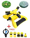 T Box Lawn Sprinkler, Automatic 360 Oscillating Adjustable Yard Water Sprinkler, Garden Water Sprinklers with Leak Free Design Durable 3 Arm Sprayer, Suit for Kids Play in Outdoor.