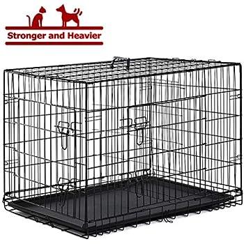 Amazon Com Bestpet Black 48 Quot 2 Door Pet Cage Folding Dog