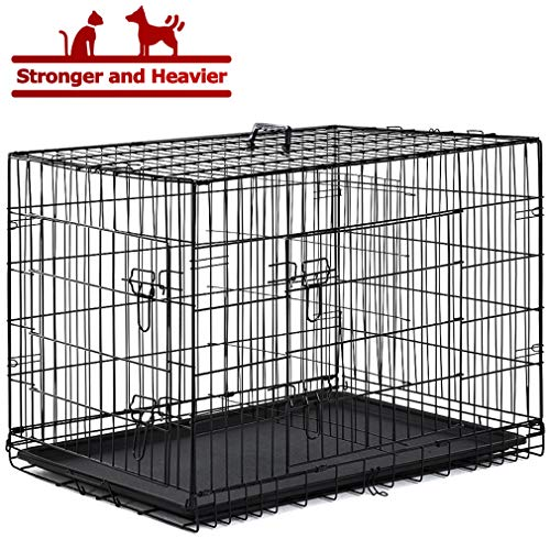 - BestPet Dog Crate Dog Cage Extra Large Metal Wire Home Folding Double-Door Dog Kennel with Handle and Divider,48