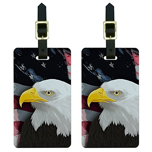 Graphics & More American Bald Eagle-Flag USA Patriotic Luggage Tags Suitcase Id, White ()