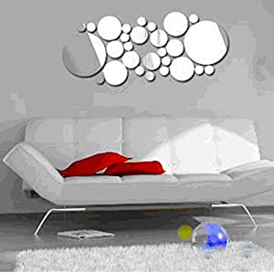 colorfulhall 30pc 3d mirror wall decal acrylic plastic mirror circles round dot. Black Bedroom Furniture Sets. Home Design Ideas