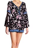 Angie Blue Women's Large Floral Printed Lace-up Romper Black L