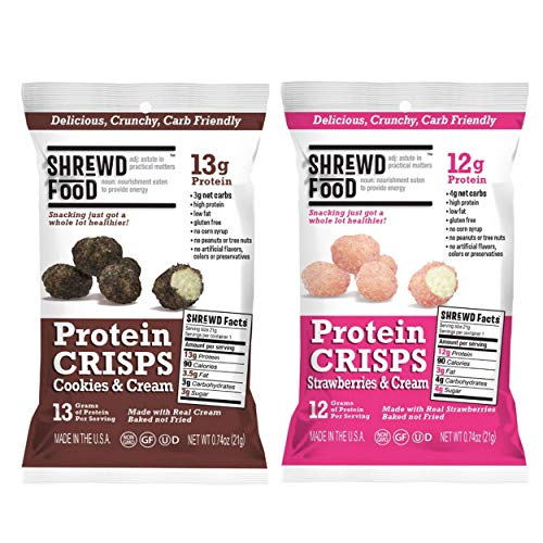 Shrewd Food Sweet Variety Pack Protein Crisps 8 Pack | High Protein, Low Carb, Gluten Free Snacks | No Artificial Flavors | Soy Free, Peanut Free | Includes Cookies & Cream + Strawberries & Cream ()