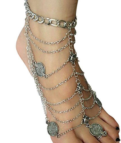 Miss Mara Bohemian Vintage Silver Coins Anklet Foot Jewelry Barefoot Sandal Anklet Chain (Silver) by Ms.Mara (Image #1)