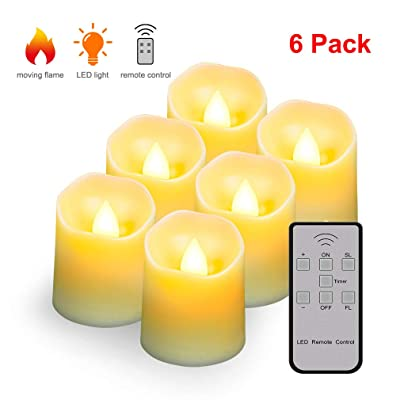 Flameless Candles Tea Light with Remote&Battery Operated Up to 200 Hours,Decorative LED Flickering Timer Votive Electric Night Lamps for Indoors or Outdoors,Churches,Home Decor (6 Pack): Home Improvement
