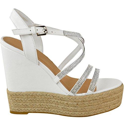 Zeppa Similpelle Plateau Diamante Sandali Thirsty Scarpe Tacchi Gb Bianco Alti Heelberry Cinturino Numero Donna Fashion A06Bxzqw