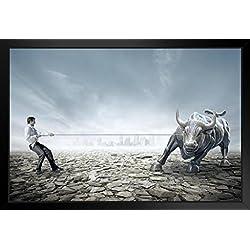 Businessman Tug of War with Bull Stock Market Photo Art Print Framed Poster 20x14 inch