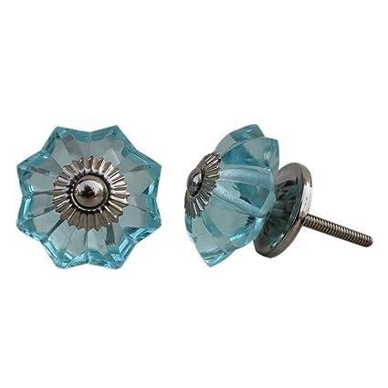 Set Of 10 Handmade Glass Drawer Knobs Silver Vintage Designer Flower Shape  Turquoise Drawer Cabinet Pull