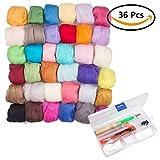 wet wool felting kits - 36 Colors Fiber Wool Yarn Roving With Felting Wool Kit for Needle Felting Hand Spinning DIY Craft Materials Set