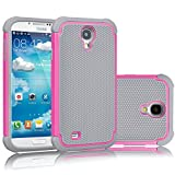 samsung galaxy 4 mini pink - Galaxy S4 Case, Tekcoo(TM) [Tmajor Series] [Pink/Grey] Shock Absorbing Hybrid Rubber Plastic Impact Defender Rugged Slim Hard Case Cover Shell For Samsung Galaxy S4 S IV I9500 GS4 All Carriers