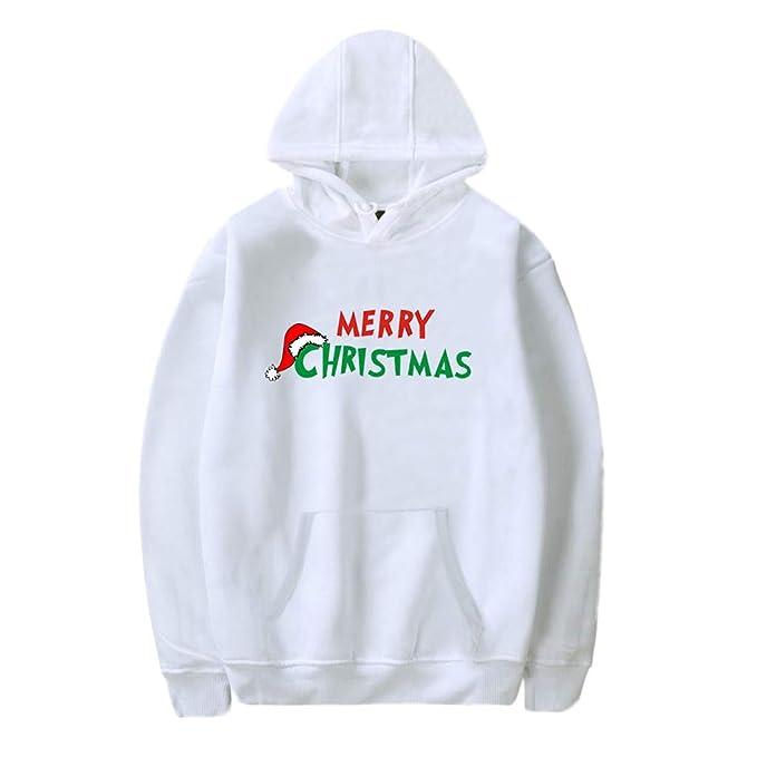 DEELIN Camisas De Manga Larga, Unisex Navidad De Ella Viene La Gorra De Navidad De Pareja con Cap Santa Claus Imprimir Blusa Tops 002: Amazon.es: Ropa y ...
