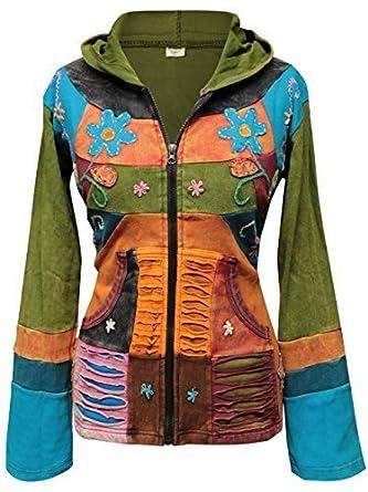 Shopoholic Moda Señoras Multicolor Flor Bordada Slash Hippie Con Capucha Chaqueta De Fiesta: Amazon.es: Ropa y accesorios