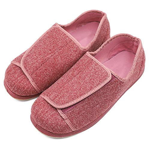 Women's Extra Wide Diabetic Shoes, Adjustable Closures Elderly Women Slippers Fit for Edema Orthopaedic Fasciitis Pink (Best Slippers For Elderly Woman)