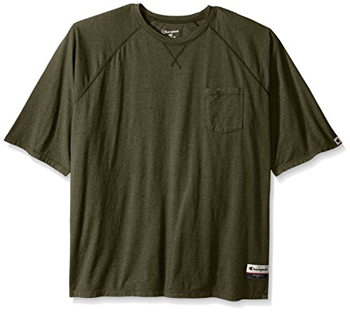 Champion Men's Authentic Originals Soft Wash Short Sleeve Pocket Tee, Green Luck Heather, XX-Large - Dyed Cotton Short Sleeve Tee