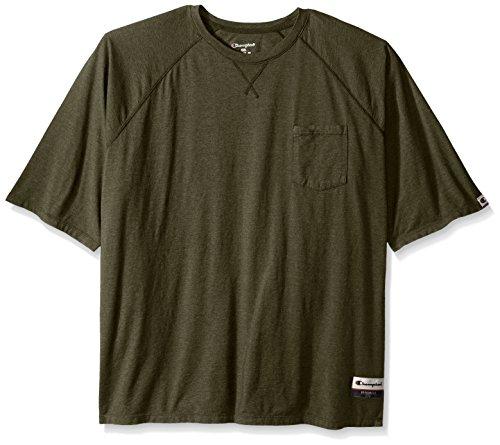 - Champion Men's Authentic Originals Soft Wash Short Sleeve Pocket Tee, Green Luck Heather, XXX-Large