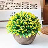 Ragdoll50 Artificial Topiary Tree Ball Plants Pot Garden Home Office Decor Outdoor Indoor(Yellow)