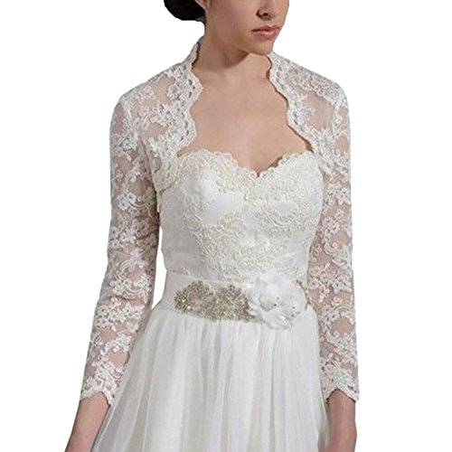 Bridal Bolero Jackets (DEFEINA Women's Lace Long Sleeve Backless Bolero Jacket Wedding Bridal Wraps)