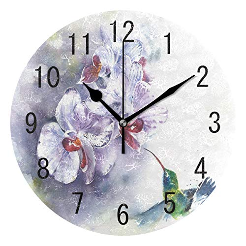 (ALAZA Home Decor Watercolor Orchid Flower with Hummingbird Round Acrylic Wall Clock Non Ticking Silent Clock Art for Living Room Kitchen Bedroom)