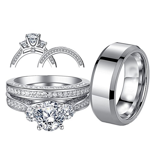 MABELLA His and Hers Wedding Ring Sets 3 Stone Womens Silver CZ Ring Set and Mens Stainless Steel Matching Wedding Band by MABELLA (Image #2)