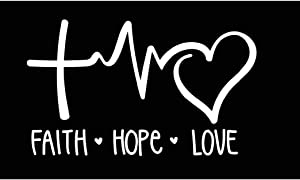 Faith Hope Love Vinyl Decal | White | Made in USA by Foxtail Decals | for Car Windows, Tablets, Laptops, Water Bottles, etc. | 8.0 x 4.75 inch