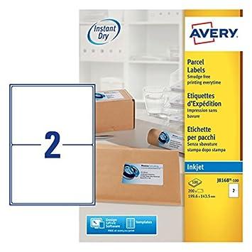 Avery J8168-100 Color blanco 200pieza(s) - Etiqueta autoadhesiva (Color blanco, 199,6 mm, 143,5 mm, 200 pieza(s), 100 hojas): Amazon.es: Oficina y papelería