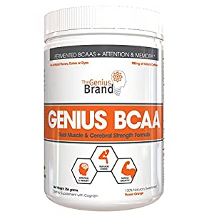 GENIUS BCAA Powder – Nootropic Amino Energy Powder & Brain Supplement, Pure Fermented Branched Chain Amino Acids with Citicoline & Natural Caffeine, Orange Power, 21 Servings