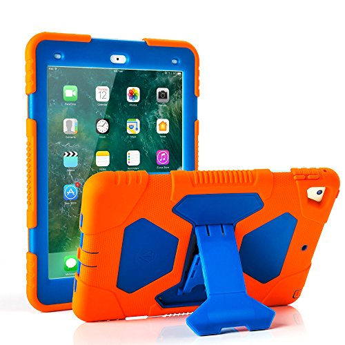 New iPad 9.7 2018/2017 Case, KIDSPR Lightweight Shockproof Rugged Cover with Stand Protective Full Body Rugged for Kids for New Apple iPad 9.7 inch 2018/2017 (6th Gen, 5th Gen) (Orange/Blue)
