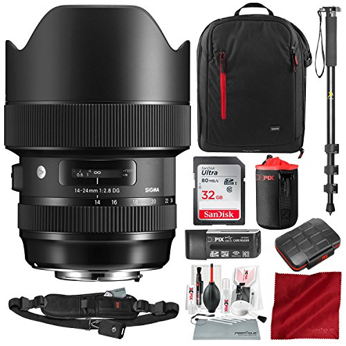 Sigma 14-24mm f/2.8 DG HSM Art Lens for Canon EF with 32GB SD Card, Stable Monopod, Xpix Camera Lens Cleaning Kit, and Deluxe Photo Travel Accessory Bundle