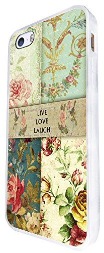 088 - Vintage Shabby Chic Live Love Laugh Floral Roses Design iphone SE - 2016 Coque Fashion Trend Case Coque Protection Cover plastique et métal - Blanc