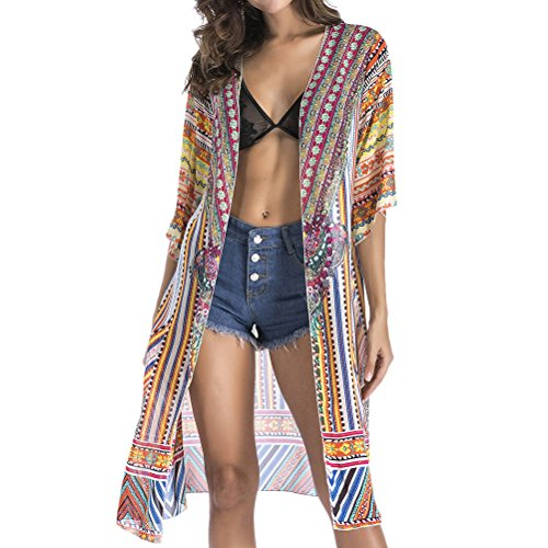 Zhhlinyuan Summer Womens 美しい 女性のドレス Chiffon Printed Kaftan Beach Wear Outerwear Dress Swimwear Beachwear Bikini Cover Up