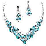 Elegant Multi Turquoise Green & Sky Blue V-Shaped Garland Prom Bridesmaid Necklace Set K4