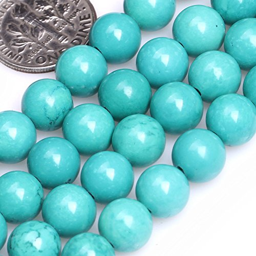 GEM-inside Gemstone Loose Beads Genuine Natural Turquoise 8mm Blue Round Energy Stone Healing Power Beads for Jewelry Making 15